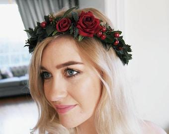 Rose headpiece, statement headpiece, Red flower crown, Christmas crown, Berry Crown, Woodland crown, green crown, forest wedding