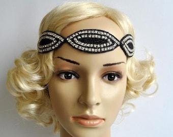 20's black  rhinestone flapper headband,20's flapper Headpiece, The Great Gatsby, rhinestones headband, vintage rhinestone headpiece