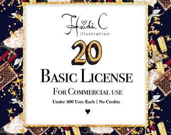 20 Basic Commercial Licenses Bundle for Commercial Use of Clipart & Digital Paper Pack   Discount Package