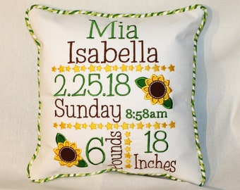 Custom Birth Announcement Pillow - Embroidered with baby's birth information with Sunflowers in a green and yellow color scheme