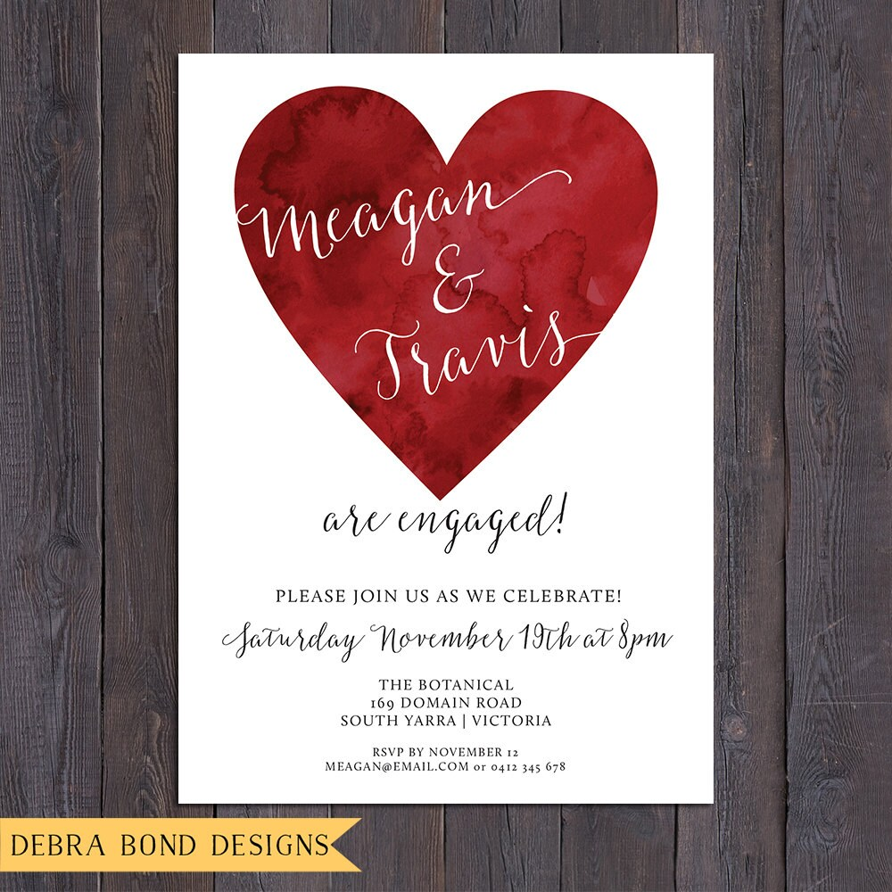 Engagement invitation, wedding invitation, heart invitation, 3 ...