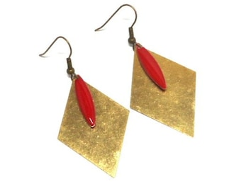 Brass shuttle red enamel earrings
