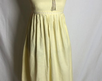Vintage Daisy yellow pleated wide leg jumper