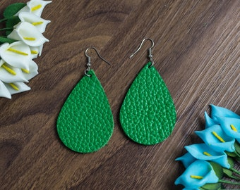 Genuine Leather Earrings Teardrop
