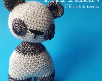 Amigurumi Crochet Wobbly Head Panda Teddy Pattern UK stitch terms - with permission to sell finished items