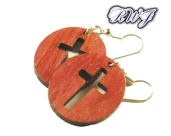 Wood Jewelry,Simple Cross, Faith, Christian, Real Wood Jewelry, Wooden Earrings, Dangle Earring, Great Gift, Natural Wood,