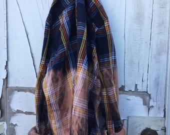 Large Navy Gold Orange Faded Vintage Wash Flannel