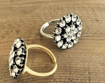 Bling Ring - crystal, matte gold or silver, adjustable