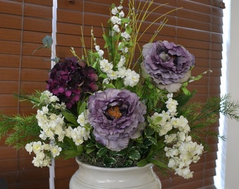 Peony & Hydrangea Faux Flower Arrangement in Ivory Ceramic Vase, Purple, Lavender and Ivory Silk Flower Arrangement, Home Decor