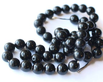7mm Shiny Black Beads Vintage Plastic Beads Round Beads Small Beads Colorized Beads