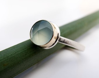 Aqua Blue Chalcedony Ring in Gold and Silver