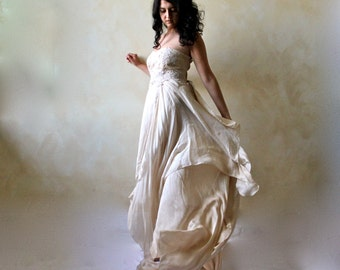 Wedding dress, Boho wedding dress, Bridal gown, Alternative wedding dress, Woodland wedding dress, golden wedding dress, asymmetrical dress
