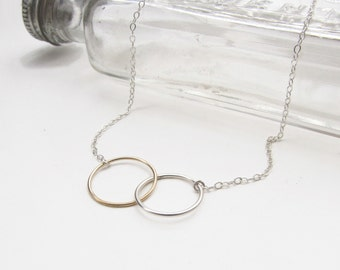 Friendship Necklace - Two Joined Circles Sterling Silver and Gold Fill  - Simple Choker Necklace by Queens Metal