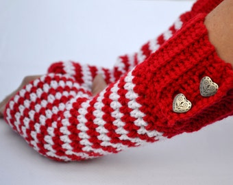 Red heart fingerless gloves, arm warmers, texting gloves, fingerless mittens, heart gloves, winter fashion, Valentines Day gloves