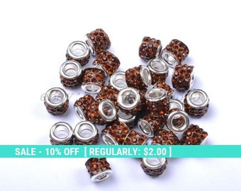 Coffee Rhinestone European Beads for Charm Bracelets, European Beads, Compatible with Snake Chains