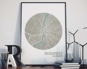 Budapest, Hungary City Map Print
