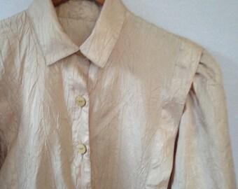 1980s pale peach tailored blouse