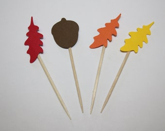 24 mini food picks -  Oak Leaves and Acorns