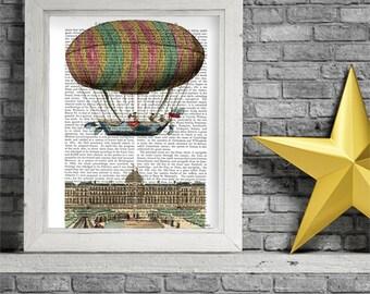 Jardin De Tuileries, Hot Air Balloon, Upcycled Dictionary Print, Balloon Illustration wall art wall decor wall hanging hot air balloon decor