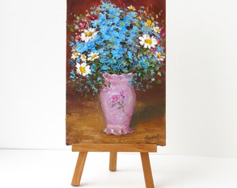 Forget me not oil painting Forget me not flower art Blue flowers art Girls room decor Small flower painting Flower art Modern art Romantic