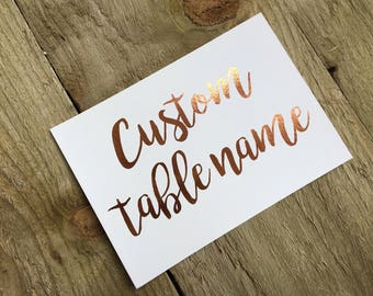 Copper foil custom wedding table names, personalised table names