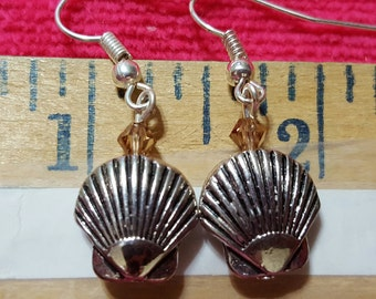 Scallop Shell Earrings with Swarovski Crystal accent bead