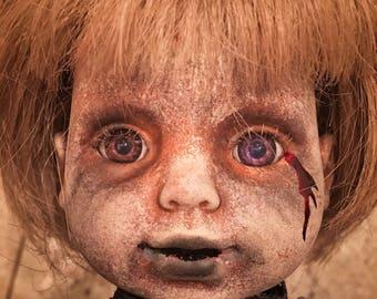 Maurelle Creepy Scary Purple Eyed OOAK Horror doll
