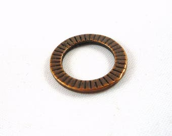 10 large ridged rings copper metal, 18mm (AP12)