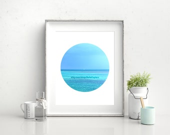 Ocean Prints   Beach Printables   Turquoise Ocean Printable   Nautical Prints   Sailboat Decorations   Tropical Prints   Aqua Printables