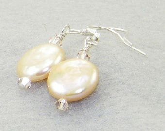 Peach freshwater pearl coins and swarovski crystals hung on sterling silver earrings, Wedding, Bride, Mother's Day, Gift for her, Whimsical