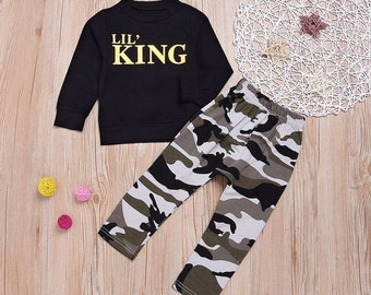 Boys Toddler Young Infant Lil King Camo Black 2 pc set