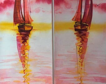 Ships, Sailing , Sale , Sea, Original watercolor