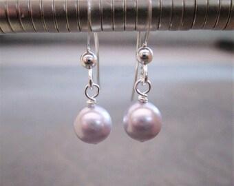 Swarovski ® pearl wedding earrings - sterling silver lavender pearl earrings - purple pearl earrings - bridal - wedding earrings SPWE-1