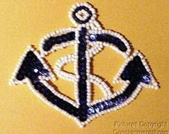 Sequins & Beaded Blue White Ships Boat Anchor (Small) Applique