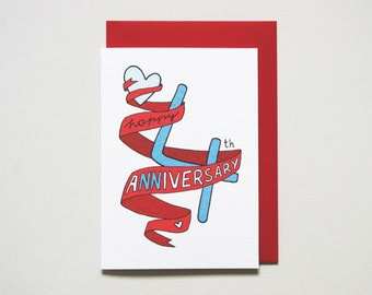 4th anniversary card * anniversary card * friends anniversary * wedding anniversary * wife husband * size A6 comes with red envelope