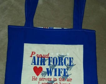 Proud air force wife  reversible tote bag handmade embroidered book bag  shopping bag reusable grocery bag craft tote sassy sayings