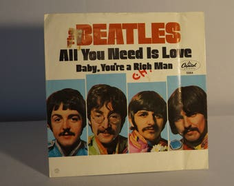 The Beatles 45 rpm with Photosleeve - All You Need Is Love/Baby You're a Rich Man