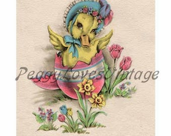 Easter 5 a Sweet Duck in an Easter Egg a Digital Image from Vintage Greeting Cards - Instant Download