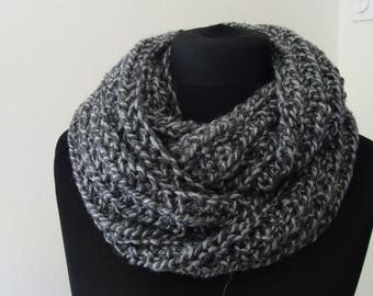 Snood neck grey marl knitted hand