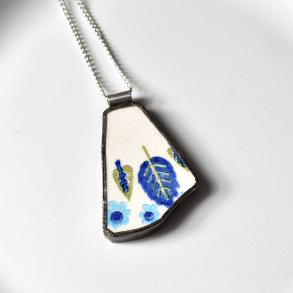 Broken China Jewelry Pendant - Swiss Chalet Blue and Green