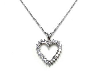 Sterling Silver CZ Open Heart Pendant - Prong Set - Sterling Silver CZ / Necklace Non-Tarnish - Tarnish Free
