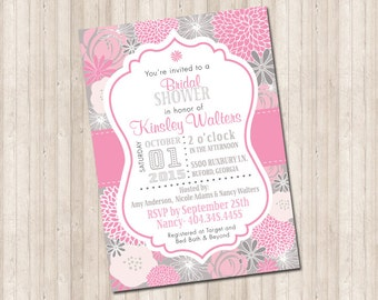 Floral Pink & Gray Bridal Shower Invitation