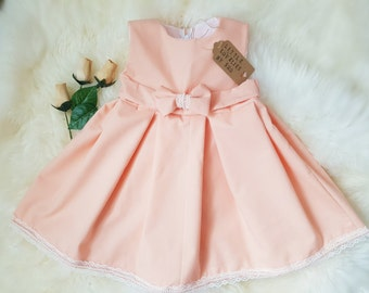 Baby Girls Soft Pink Occasion dress (100% Cotton)
