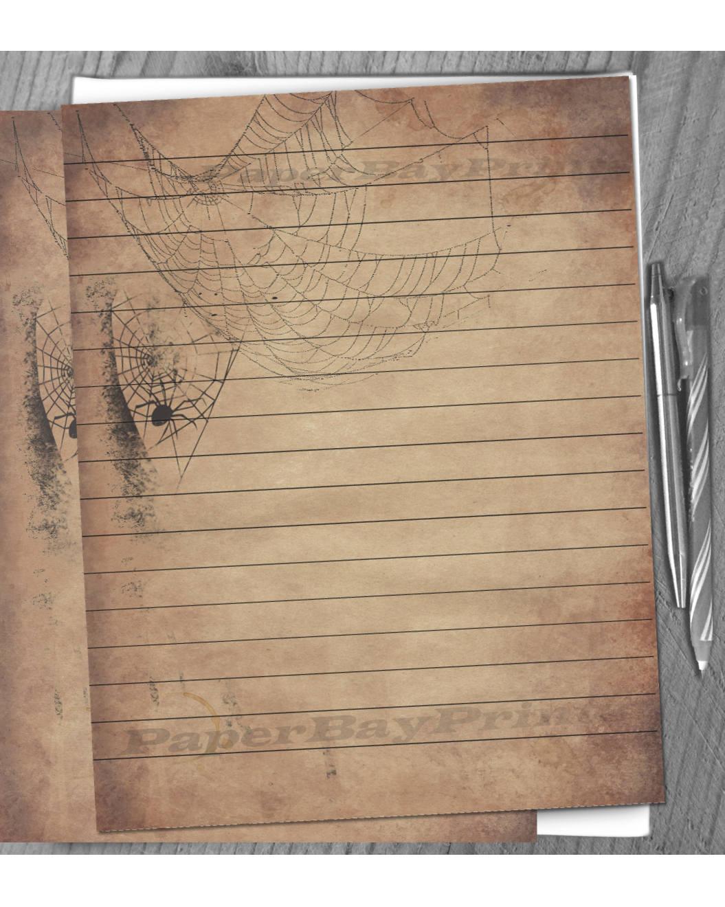 Papel para escribir imprimible, Vintage Halloween Spider Web viejo ...