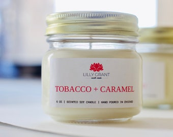 Tobacco + Caramel Handmade Soy Candle by Lilly Grant Candle Studio 6 oz soy candle / hand poured / handmade soy candle / handmade gift