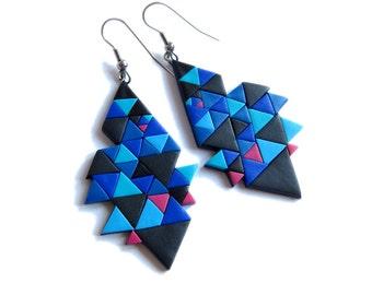 Geometric Earrings, Navy Blue Earrings, Ultramarine Blue Earrings, Royal Blue Earrings, Fimo Polymer Clay Big Earrings, Color Block Earrings