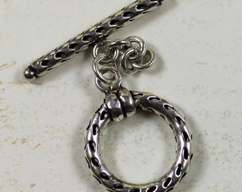 Sterling Silver Pierced Round Toggle Clasp