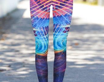 Boho Leggings , Yoga Leggings, Printed Leggings, Workout, stretch  pants, Woman Leggings, Colorful Leggings, Yoga Pants,