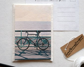 Bicycle Postcard on Handmade Eco Friendly Mulberry Paper, England Travel Photography, Seaside in Brighton, UK, Ocean Photo- with envelope