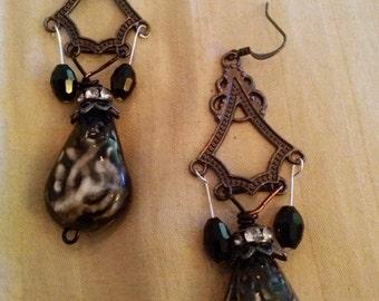 Swirl Bead Chandelier Earrings